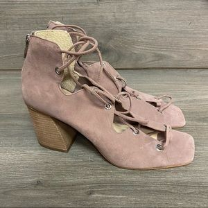 Vince Camuto   Nahara Open Toe Lace Up Bootie 9
